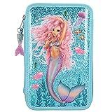 Depesche 10979 Federtasche mit 3 Reißverschlüssen und Stiften von Lyra, Fantasy Model Mermaid, blau, ca. 7,5 x 13 x 20 cm