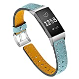 HZNYYY Kompatibel Mit Dem Fitbit Charge 3 Leisure Lederband, Dem Classic Adjustable Sport Wristband...
