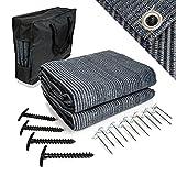 Mr Nomad Vorzeltteppich 3,0 m x 2,5 m - hochwertiger Camping Teppich blau/grau aus Polyethylen, idealer Vorzeltboden inkl Tragetasche , 4 T-Heringe & 12 Stahlnägel