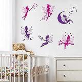 WandSticker4U®- 6 tlg. Set: Wandtattoo Kinderzimmer Mädchen ELFEN und FEEN in Violette & Pink I...
