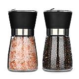Hotder Salz und Pfeffermühle, Gewürzmühle 2er Set, Pfeffermühle Und Salzmühle mit einstellbarem Keramikmahlwerk, Chilimühle Pfeffermühlenset für Verschiedene Gewürze, schwarz