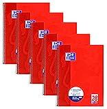 Oxford Collegeblock A4 kariert, 80 Blatt, 90 g/m², rot, 5er Pack, 400145131