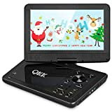 QKK 10.1 Zoll Tragbarer DVD Player, Auto DVD Player, 5 Stunden Akku, 270 Grad drehbares HD Display,...