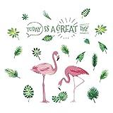 VORCOOL Wandverzierung,Rosa Flamingos Grünpflanzen Blätter Pastoralen Stil Wandaufkleber...