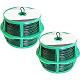 com-four® 100 Meter Meter Bindedraht - 2 Rollen mit je 50 Meter kunststoffummantelter Draht in grün - Pflanzendraht für Garten- und Hausarbeit (02x 50m grün V2)
