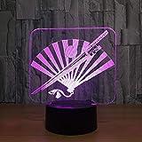 3D Illusion Nachtlicht Japan S Samurai Schwert Fan 3D Nachtlicht Led Bunte Usb Tischlampe Led...