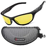 ZILLERATE NACHTFAHRBRILLE Unisex - Nachtsichtbrille filtert Licht von Scheinwerfern, NACHTBRILLE zum Autofahren, Gelb getöntes HD-Sichtglas, leichter komfortabler TR90-Rahmen, mit Hartschalen-Etui