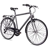 CHRISSON 28 Zoll Citybike Herren - City One anthrazit matt 56 cm - Herrenfahrrad mit 7 Gang Shimano...