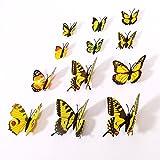 NO:1 12 Stück Mode 3D Schmetterling Magnetisch Wandsticker Wandaufkleber DIY Wandverzierung...