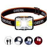 OMERIL Stirnlampe LED Wiederaufladbar USB Kopflampe Stirnlampe Kinder, Sehr hell, wasserdichte Mini...