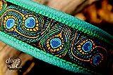 Hundehalsband Leder Pfau Feder Peacock Zugstopp Messing Halsband Handmade