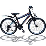 Talson 24 Zoll Mountainbike Fahrrad MIT GABELFEDERUNG & Beleuchtung 21-Gang Shimano Faster BBO