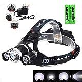 Gina Kopflampe LED-Scheinwerfer mit 3 Lichtern 4 Modi, Kopflampe, Hands-Free-Taschenlampe for...