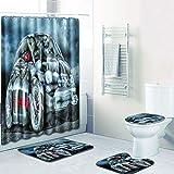 WANJIA Rutschfestes Badezimmer-Set, Duschvorhang + Badematte + U-förmige Badematte + WC-Abdeckung 4...