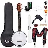 Kmise Banjolele Konzert-Banjo-Ukulele 4 Saiten Banjo 58,4 cm Banjos mit Gigbag Tuner Tonabnehmer...