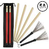 5A Drumsticks 2 Paar klassische hochwertige Ahorn-Drum-Stick-Sets mit einziehbarer...