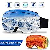 infinitoo Skibrille mit 1 Ersatzobjektive Ski Snowboard Brille Brillenträger Schibrille Verspiegelt...