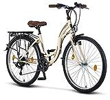 Licorne Bike Stella (Beige) 26 Zoll Damenfahrrad, CTB ab 145 cm, Fahrrad-Licht, Shimano 21...