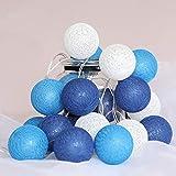 Lichterkette Cotton Ball, 6cm Cotton bälle Kette mit USB, 6M 40 LED Kugel Light für Innen Mädchen Teenager Baby Zimmer Deko Terrasse Weihnachten Hochzeit Party