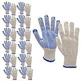 Morton Home Strickhandschuhe, PVC, gepunktet, Naturweiß, MH-SGL-BL-12, blau, Pair of 12
