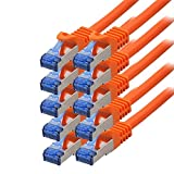 BIGtec - 10 Stück - 0,25m CAT.7 Gigabit Patchkabel Netzwerkkabel orange Kupferkabel Patch Ethernt...