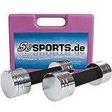 ScSPORTS® 5 kg Hantelset Kurzhantel-Set mit 2X Kurzhantelstange, Hantelscheiben Chrom, komplett...