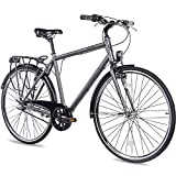 CHRISSON 28 Zoll Citybike Herren - City One anthrazit matt 56 cm - Herrenfahrrad mit 3 Gang Shimano...