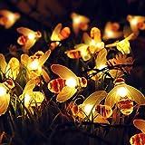 Solar Honig Biene Fairy String Lights, 6,5m 30 D Solargarten String Lichter Outdoor Biene Fairy Lights für Garten Terrasse Blume Bäume Rasen Landschaft Weihnachtsdekor BJY969 (Color : Warm White)