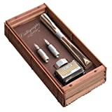 ONLINE Kalligrafie-Füllhalter Newood mit brauner Tinte im Tintenglas und Konverter, Federstärke 1,4 mm und Griffstücke 0,8 mm und 1,8mm, in Geschenketui