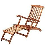 Sonnenliege Queen Mary Akazien Holz Verstellbar Fußsegment klappbar Sonnenstuhl Deckchair Garten...