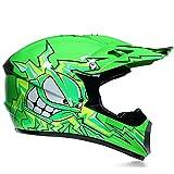 Super-ZS Motocross Helm, Schutzbrille + Handschuhe + Maske Profi Rallye Motorrad Helm Abnehmbarer Und Waschbarer Grüner Cartoon Muster Erwachsenenhelm Set
