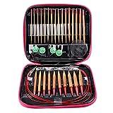 Stricknadeln Set, Bambus Rundstricknadeln, Rundstricknadel, Mutifuctional Leichtes Austauschbares Strickset Bambus + Aluminium für Strickwerkzeuge für Nadeln Ringset