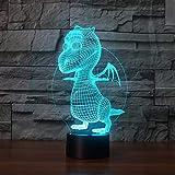 Tier Dinosaurier Nachtlicht 3D Optische Täuschung Kinderzimmer Led Nachttisch Lichter Mit...