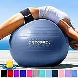 arteesol Gymnastikball Pilates Ball 45cm / 55cm / 65cm / 75 cm inkl. Pumpe Anti-Burst Sitzball für...
