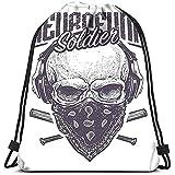 Medsforu Kordelzug Taschen Rucksack Neurofunk Soldat Schädel Bandana Kopfhörer Baseballschläger...