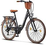 Licorne Bike Violetta (Schwarz) 28 Zoll Damenfahrrad,CTB ab 160 cm, Fahrrad-Licht, Shimano 21...