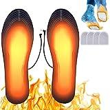 Suxman Beheizte Innensohle, Beheizbare Einlegesohlen Schuhheizung Fußwärmer Sohlenwärmer USB Beheizbare Thermosohle Einlegesohlen mit 2 Paar Zehenwärmer Fußwärmer Pads (Größe 41-46)