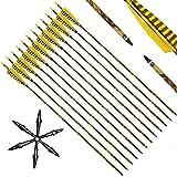 Narchery Pfeile für Bogenschießen, 31 Zoll Camo Bogenpfeile Carbon Pfeile mit Naturfeder,...
