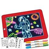 Mediashop Magic Pad – Zaubertafel mit 6 Neonfarben und 8 Leuchteffekten – Kreative Beschäftigung für Kinder, auch unterwegs – Maltafel mit 30 Schablonen, abwischbar – 1 STK.
