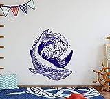 Whale Wandaufkleber, Wasser-Vinyl, Meeresaufkleber, Ozean-Wanddekoration, nautisches Kinderzimmer,...