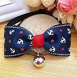 WWWL Katzen Halsbänder 2 STK Pet Fliege Verschiedene Designs Anker Muster Katze Kragen Katze Krawatte Katze Kostüm Katze Fliege Xiao XS Anchor-Blue