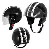 Motorradhelm Motorrad Roller Offenes Jet Helm Viser ECE 22 05 Schwarz M