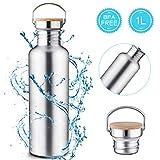 Charminer Edelstahl Trinkflasche, Langlebige Wasserflasche 1L, Wiederverwendbare öko Wasserflasche,...