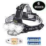LED Kopflampe Stirnlampe, Myguru USB Wiederaufladbarere Stirnlampen Sport Scheinwerfer 6 Modi...