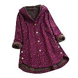 yazidan Damen Winter Warm Dicker Outwear Parka Mantel Jacke Blumendruck mit Kapuze Taschen Vintage...