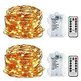 LED Lichterkette, 2 Stück 5M 50LED Lichterkette 8 Modi Außenbeleuchtung Batteriebetrieben mit...