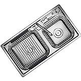 Küchenspülen Edelstahl-Spüle Küche Zu Hause Doppeltrogeinteilige Verdickte Waschbecken...