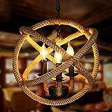 DSELP Kronleuchter Vintage Seil, Pendelleuchte Industrie Retro Beleuchtung Hanfseile Lampe...