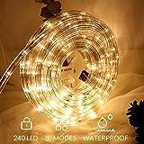 Hengda LED Lichterschlauch für außen 10m warmweiß 240 LEDs Lichterschlauch Wasserfest...