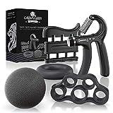 ALPHASKIN© Handtrainer Fingertrainer [5er Set] - Verbessertes Konzept 2020 - Hand Unterarm...